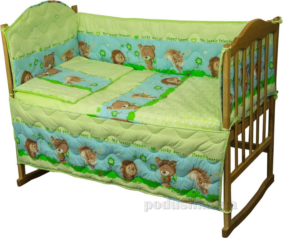 Спальный комплект для детской кроватки Руно Принцесса Ёжик салатовый