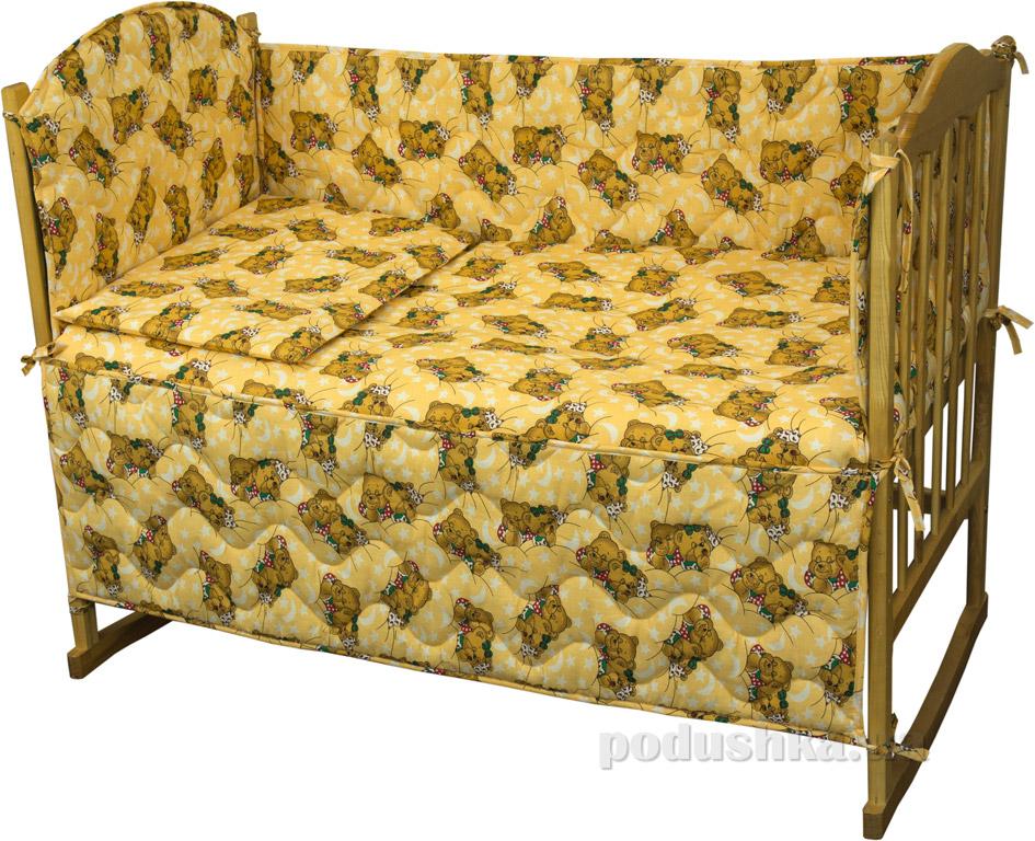 Спальный комплект для детской кроватки Руно Принцесса Мишки спят желтый