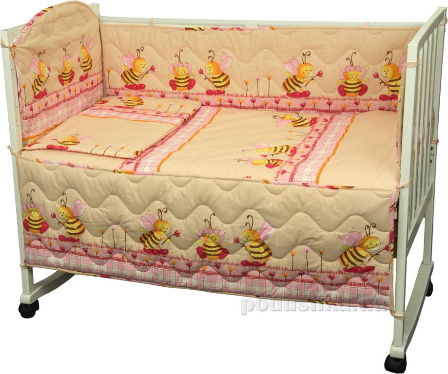 Спальный комплект для детской кроватки Руно Принцесса Пчела бежевый