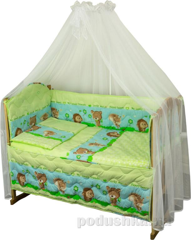 Спальный комплект для детской кроватки Руно Ромашка Ёжик салатовый