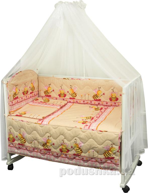 Спальный комплект для детской кроватки Руно Ромашка Пчела бежевый