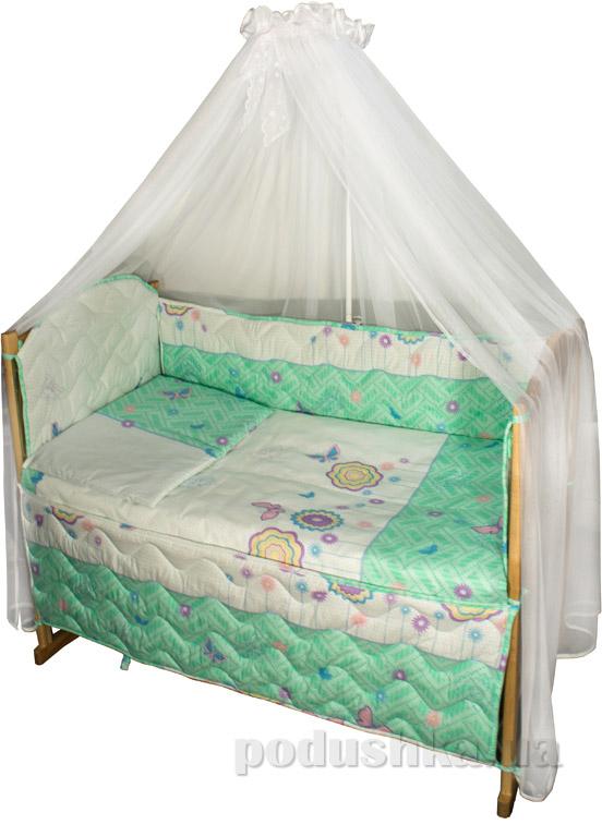 Спальный комплект для детской кроватки Руно Ромашка Цветочки и бабочки салатовый