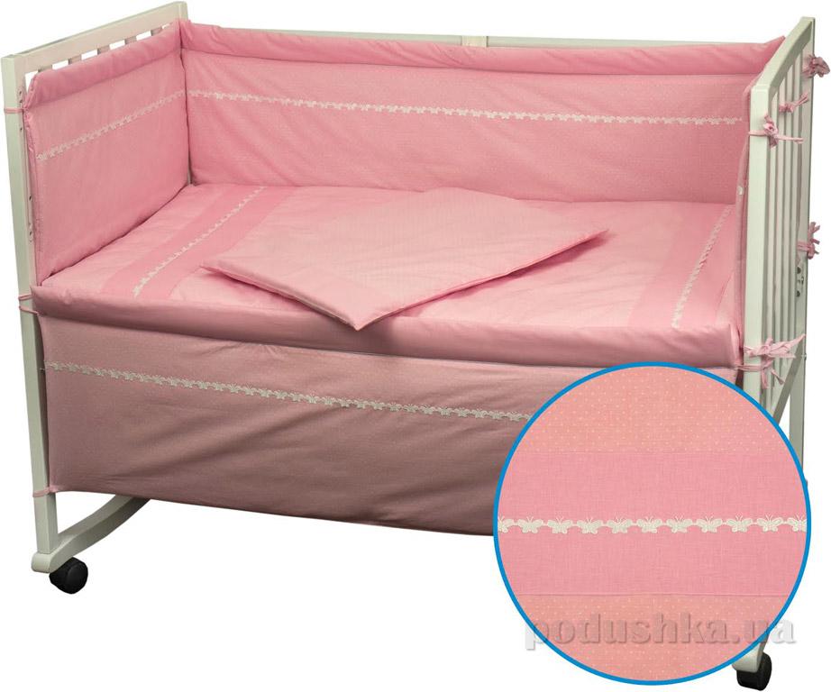 Спальный комплект для детской кроватки Руно Весёлый горошек розовый