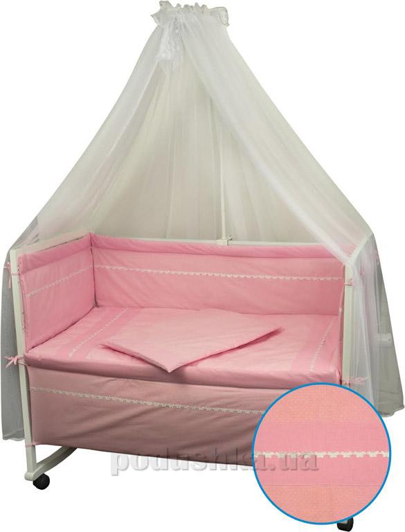 Спальный комплект для детской кроватки Весёлый горошек розовый