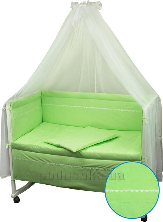 Спальный комплект для детской кроватки Весёлый горошек салатовый