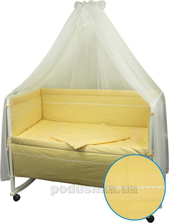 Спальный комплект для детской кроватки Весёлый горошек желтый