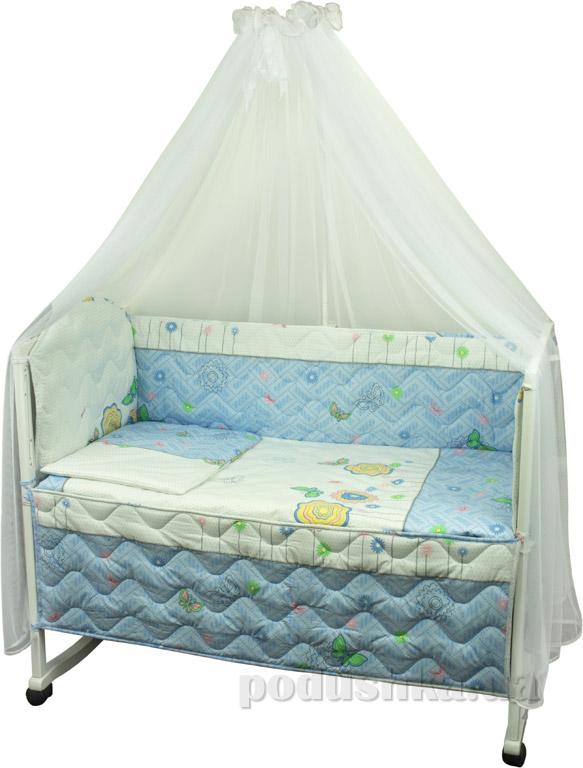 Спальный комплект в кроватку Руно Веселка Бабочки и цветочки голубой