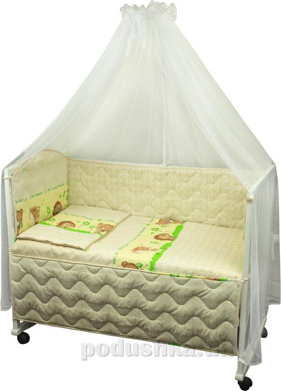 Спальный комплект в кроватку Руно Веселка Ёжик бежевый