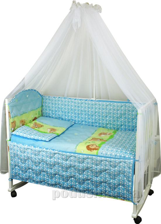Спальный комплект в кроватку Руно Веселка Ёжик голубой