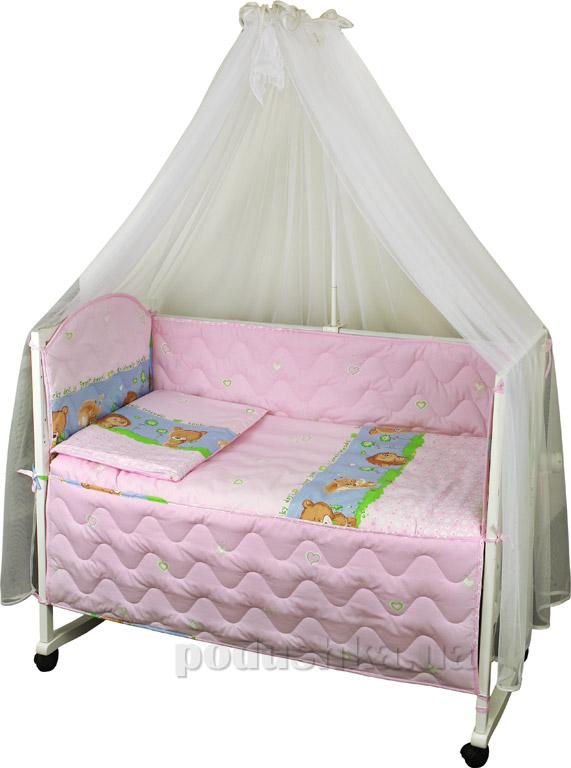 Спальный комплект в кроватку Руно Веселка Ёжик розовый