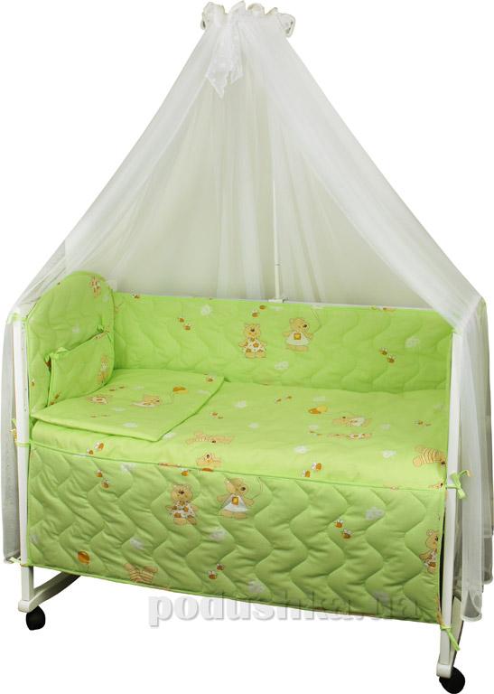 Спальный комплект в кроватку Руно Веселка Мишка с шариком салатовый