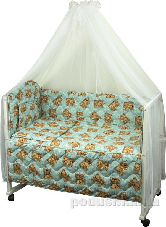 Спальный комплект в кроватку Руно Веселка Мишки спят голубой
