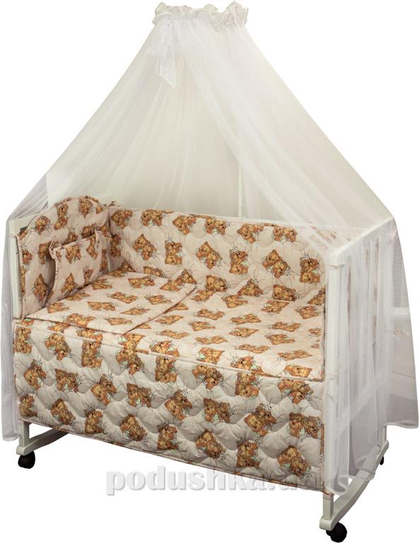 Спальный комплект в кроватку Руно Веселка Мишки спят розовый