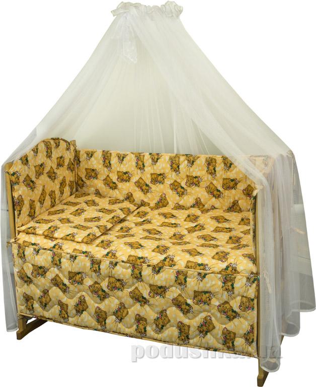 Спальный комплект в кроватку Руно Веселка Мишки спят желтый