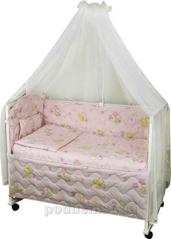 Спальный комплект в кроватку Руно Веселка Мишки-пузатики розовый
