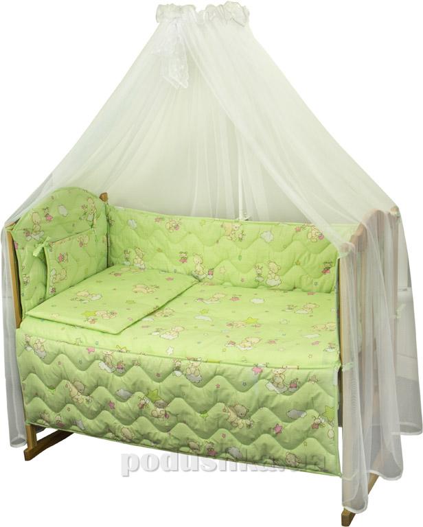 Спальный комплект в кроватку Руно Веселка Мишки-пузатики салатовый