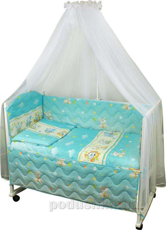Спальный комплект в кроватку Руно Веселка Мышка с сыром голубой