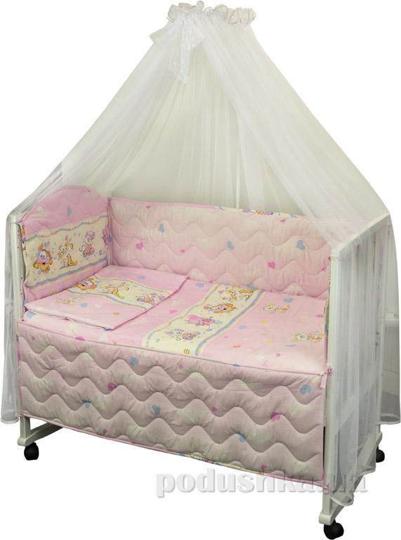 Спальный комплект в кроватку Руно Веселка Мышка с сыром розовый