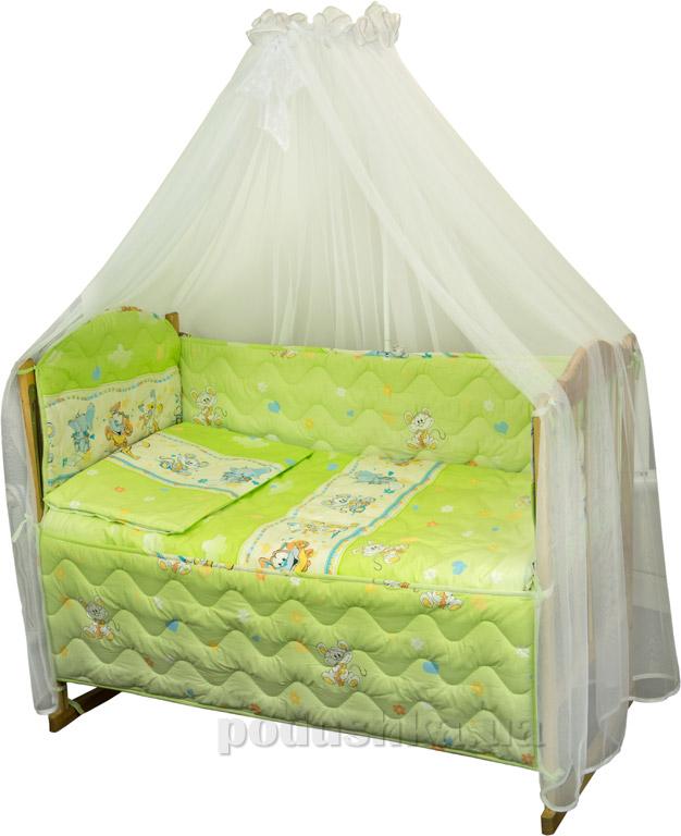 Спальный комплект в кроватку Руно Веселка Мышка с сыром салатовый