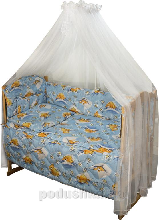 Спальный комплект в кроватку Руно Веселка Сладкий сон голубой