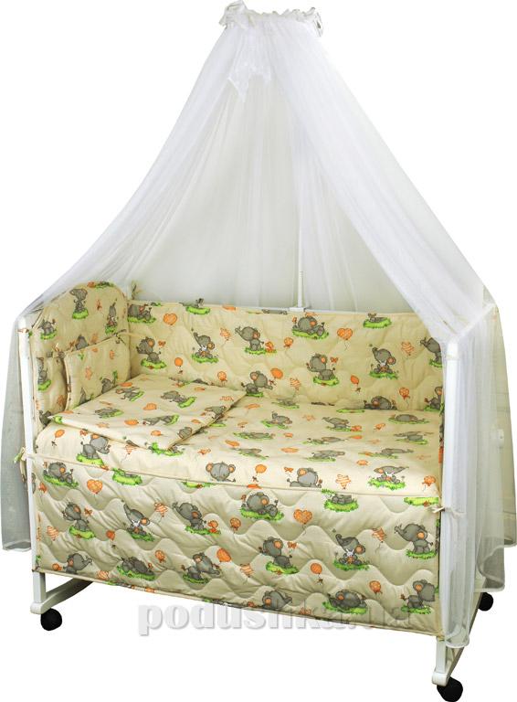 Спальный комплект в кроватку Руно Веселка Слоник бежевый