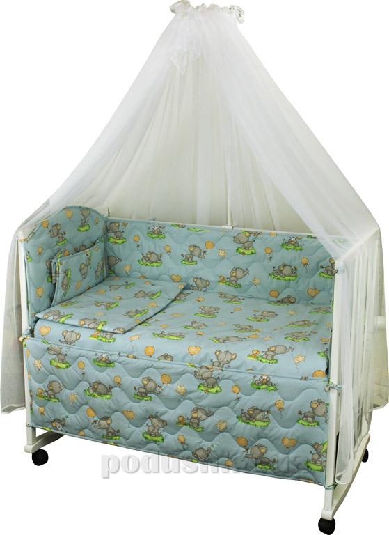Спальный комплект в кроватку Руно Веселка Слоник голубой
