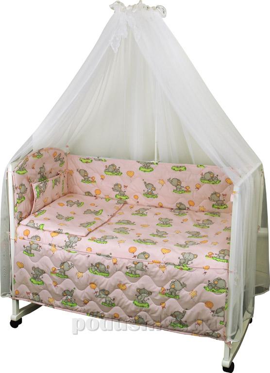 Спальный комплект в кроватку Руно Веселка Слоник розовый