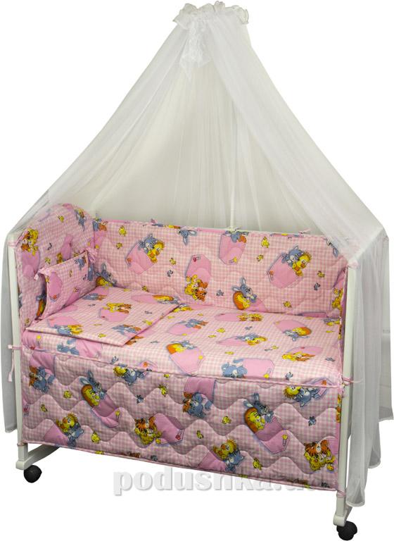 Спальный комплект в кроватку Руно Веселка Зверушки в кармашках розовый