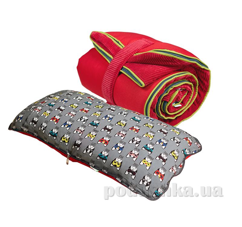 Спальный мешок bq-style красный из вельвета с подушкой-трансформер