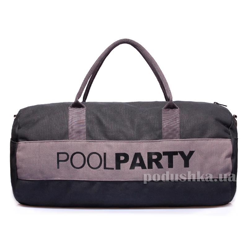 Спортивно-повседневная сумка Poolparty poolparty-gymbag-black-grey