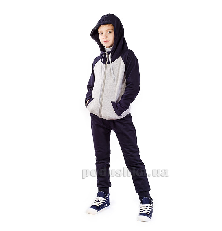 Спортивный костюм на змейке Kids Couture темно-синий с серым