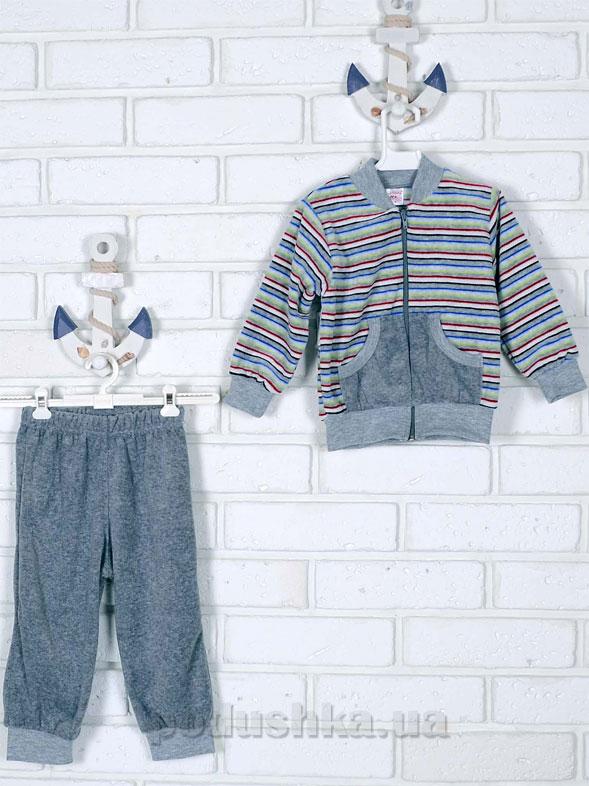 Спортивный костюм Татошка 08340 серый в разноцветную полоску