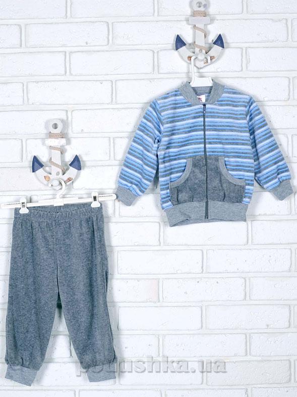 Спортивный костюм Татошка 08340 серый в голубую полоску