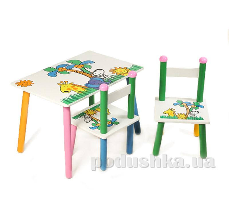 Столик Baby Tilly W02-5314 Z-004 с двумя стульчиками Джунгли