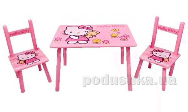 Столик Bambi 0293 Котенок деревянный с двумя стульчиками
