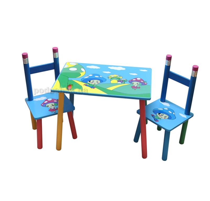 Столик с двумя стульчиками Baby Tilly Грибочки (2880-2/W02-286)
