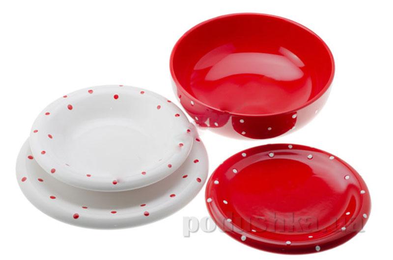 Столовый сервиз Anka 19 пр. Drops Red&White