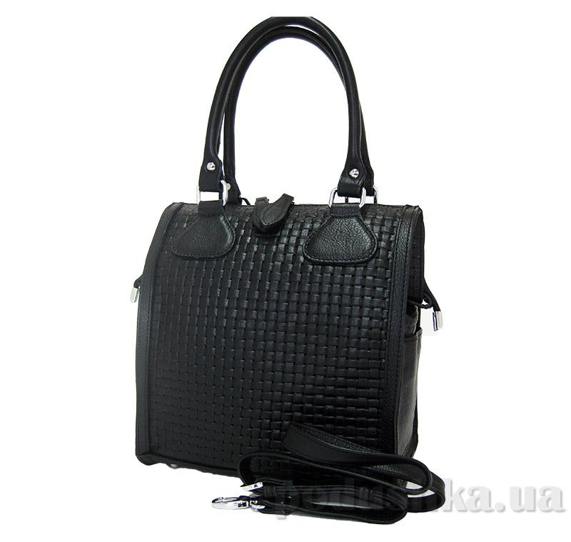 Сумка из натуральной кожи Artis Bags 696 черная с узором-плетенкой
