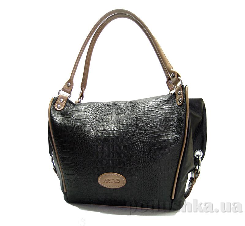 Сумка из натуральной кожи Artis Bags 788 черная с рельефом