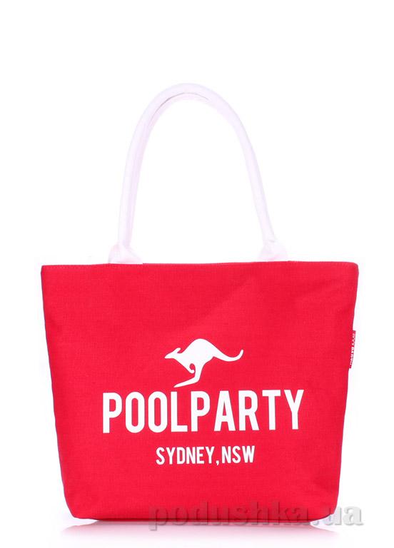 Сумка коттоновая Poolparty Pool-9 red