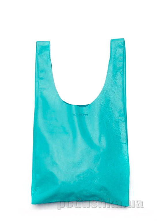 Сумка кожаная Poolparty Leather tote blue