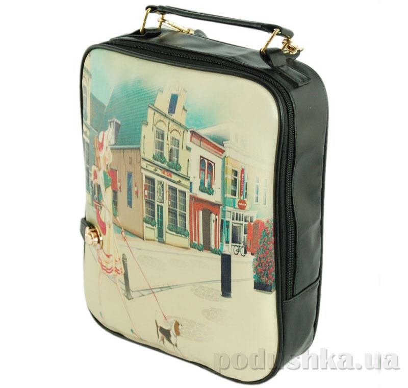 Сумка-рюкзак Traum 7224-04 черная с рисунком