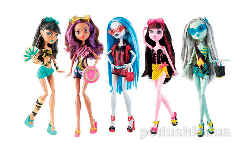 Супер-набор кукол Monster High Gloom Beach Cleo de Nile Draculaura Clawdeen Wolf Frankie Stein Ghoulia Yelps Клео Дракулаура Клодин Френки Гулия