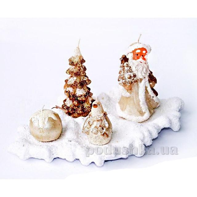 Свечи на тарелке Ель,Шар,Дед Мороз,Пингвин Девилон 850272