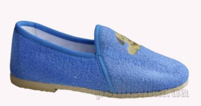Тапочки детские Берегиня Лодочки с аппликацией голубые