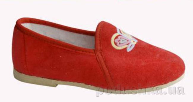 Тапочки детские Берегиня Лодочки с аппликацией красные