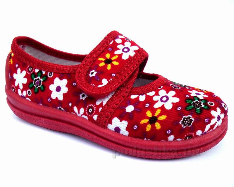 Тапочки-туфельки для девочек Floare 1270380200 красные