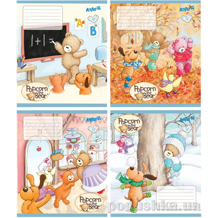 Тетрадь Popcorn Bear 12 листов косая линейка Kite PO17-235