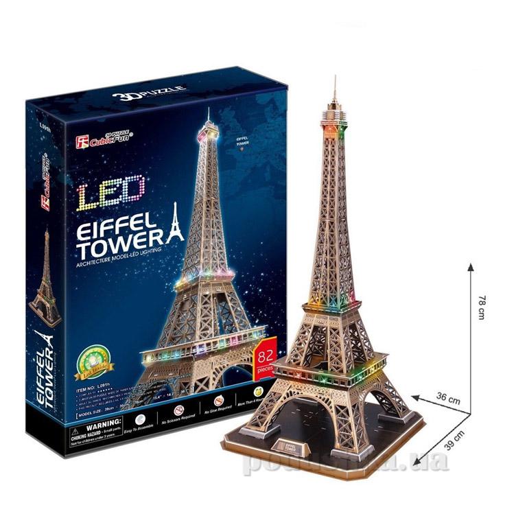 Трехмерная головоломка-конструктор CubicFun Эйфелева башня LED