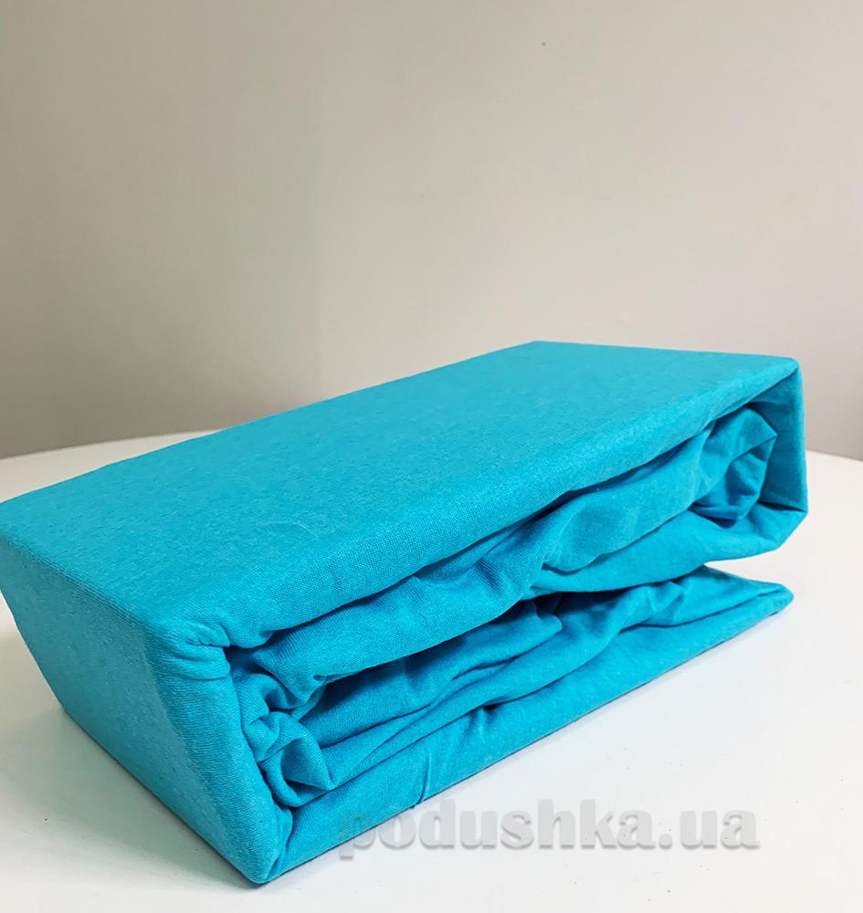 004513308a0a Трикотажная простынь на резинке Cotton area светло-голубая купить в ...